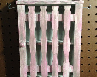 Upcycled Wood Jewelry Holder Organizing Display Cabinet (Pink, White, and Grey)