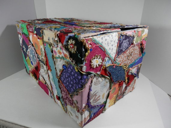 Extra Large Sz Box Fabric Scrap Decoupaged Storage Embellish Cardboard ...