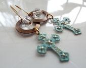 Cross Earrings, Dangle, Blue Cross Earrings, Catholic Jewelry, Christian Jewelry