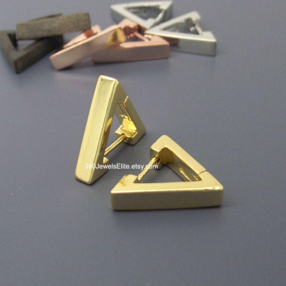 Gold Triangle Huggie Hoop Earrings For Men  Small Hoop Earrings For Guys   Cartilage Piercing