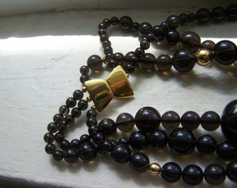 Smoke Large Triple Strand Designer Bead Necklace
