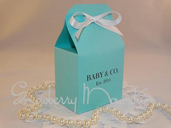 Blue Baby Shower Favor Boxes : Aqua blue baby shower favor box kits set of by