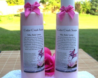 LOTION ~ Sea Salt and Rice Flower Lotion with Silk and Shea Butter Body Lotion 8 oz Bottle