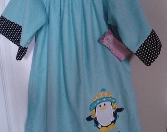 Aqua Corduroy boutique Handmade Peasant style dress with ruffled pants Black Polka dots Appliqued Penguin size 12 months to size 8