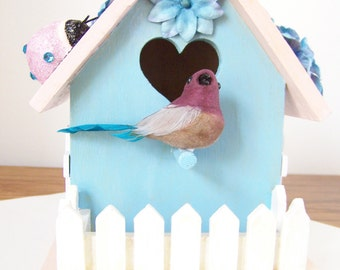 Summer Pastel Pink & Blue Decorative Birdhouse -  Ladybugs, Flowers, Bird and Picket Fence - Baby Shower Gift - Nursery/Home Decor