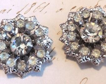 Vintage Rhinestone Earrings Clip On Wedding Bridal Vintage Jewelry