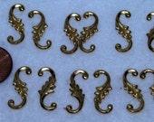 Miniature Gold Tone S Curve Embellishments Lot of 12