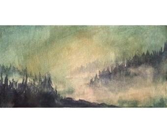 Original Watercolor Painting on Canvas Forest Landscape Art