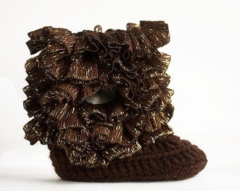 Chocolate Brown Ruffle Infant Crochet Boots- Choose Your Size