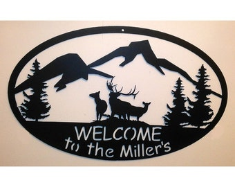 Custom Welcome Sign - Mountain and Elk