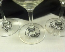 Wine Glass Charm, Personalized Wine Charm, Wedding Favor, Bridesmaid Wine Charms, Bridal Party Wine Charms, Champagne Charms