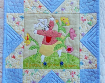 Sprout, Grow, Bloom Quilted Wall Hanging/table runner/mini quilt/applique and embroidery
