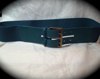 Vintage Old Navy WIde Teal Stretchy Belt.