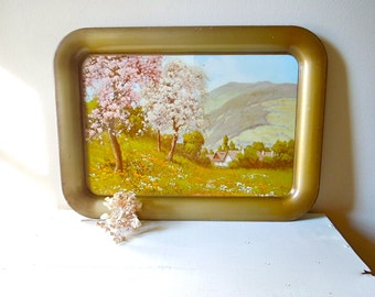 Vintage Tray, Large Rectangular, Tin Tray with Pastoral Cottage Scene