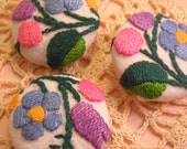Vintage Embroidery Covered Buttons
