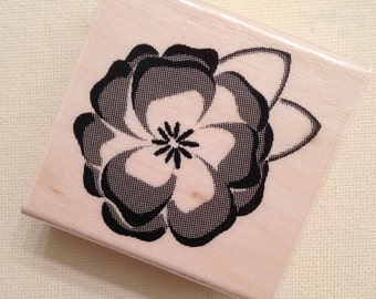 Flower Wood Mounted Rubber Stamp  // Brand New