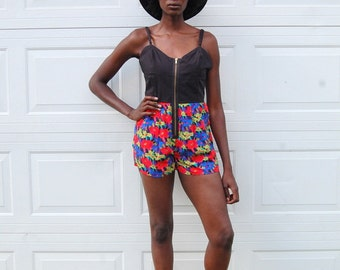 SALE!!!!!!!!!! Upcycled patterned romper with exposed zipper