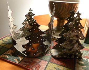 Tin can pierced decoration Christmas plant holder and napkin holder