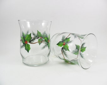 Candle Holders Holly Berries Pine Hand Painted Set of 2
