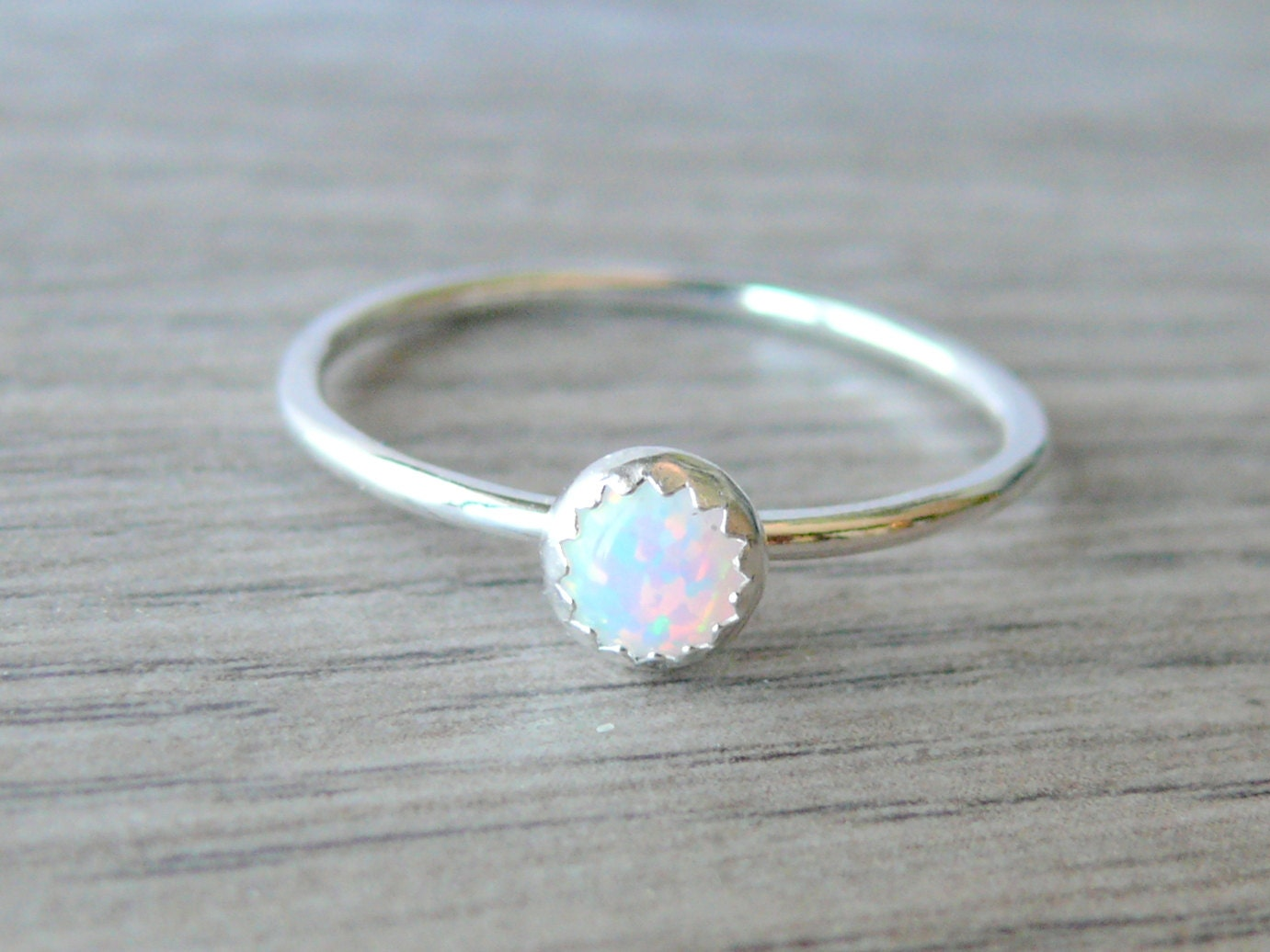 white opal ring sterling silver stacking ring gemstone ring