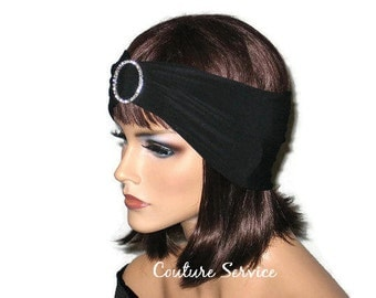 Black Turban Headband, Women's Handmade Fashion, Solid Black Turban, Black Rhinestone Turban, Black Half Turban, Black Hair Turban, Turbin
