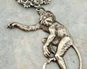 Vintage Necklace - Monkey Necklace - Monkey Jewelry - Whimsical Jewelry - Vintage Brass jewelry - handmade jewelry