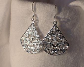 Fashion Earrings Drop Silver Fan Dangle Filigree Casual Everyday Jewelry Light Fishhook Casual Earrings E116
