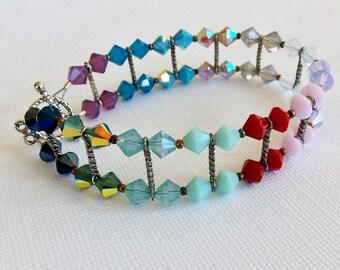 "Colorful Swarovski Crystal 2 Strand 8"" Bracelet, pastel rainbow, multi color, large wrist, RR tracks, gift for her, glass crystal, handmade"