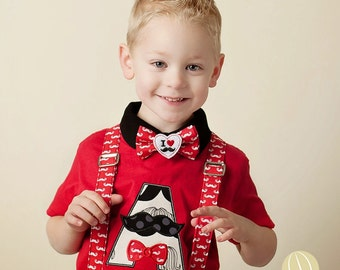 Mustache Red and White Bow Tie and Suspenders - Birthday Bow Tie -Toddler Boy Suspenders - Wedding Dress Up - Church Tie
