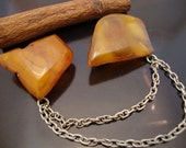 Amber Baltic Brooch Real Dark Honey Two Stone12.54 gr. German Silver Metal Chain