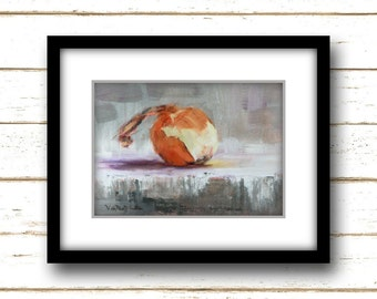Little Onion Painting Print - Original Fine Art Still Life Painting Print
