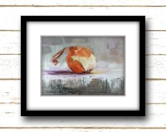 Little Onion Painting Print - Original Fine Art Still Life Painting Print