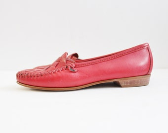 Vintage 80s Red Moccasin Flats - Genuine Hand Sewn Leather - Dexter Women 7M