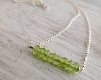 August Birthstone Necklace, Peridot Bar Necklace, Layering Necklace, Birthday, Sterling Silver