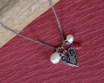 Sterling Silver Heart Ruby Freshwater Pearls Necklace