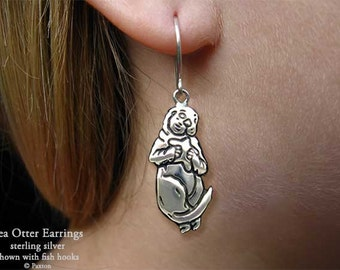 Sea Otter Earrings Sterling Silver Hand Carved & Cast Fish Hook or Post