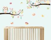 Vinyl Wall Sticker Decal Owls Birds Branch Decal