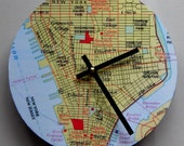 Wall clock .Late 20th century map of Lower Manhattan in NYC: Greenwich Village, Tribeca, Wall Street.