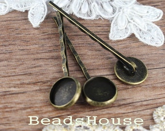 10pcs Antique Brass Hair Clip W/12mm Setting Base,Nickel Free