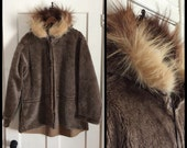 Vintage 1940s WWII fur trim cold weather parka pile lining Jacket Coat Mens looks size Large  WW2