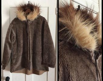 Vintage 1940s WWII fur trim cold weather parka pile lining Jacket Coat Mens looks size Large  WW2