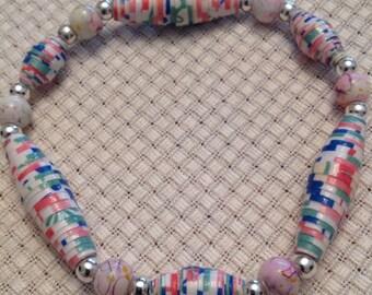Multi-color, Rolled paper bead stretch bracelet JB15002