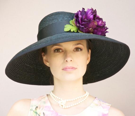 Kentucky Derby Hat, Wide Brim Black Hat, Church Hat, Wedding Hat, Ascot Hat, Audrey Hepburn Hat, Pink hat, plum hat, Dressy hat, Elegant hat