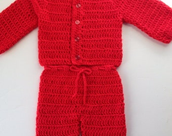 Crochet Baby Red Sweater Pants Set 3-6 months