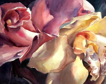 """Orchids II -  Floral fine art watercolor painting print - open edition by SriWatercolors - 9.5 """" x 7"""""""