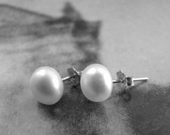 Genuine Freshwater Pearl Stud Earrings Jewelry Studs Sterling Silver Earrings Pearl Accessories Stud Earrings Luxe Freshwater Pearls