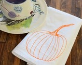 Cloth Napkins - Screen Printed Organic Cotton Cloth Napkins - Eco Friendly Dinner Napkins - Pumpkin - Handmade Cotton Napkins - Thanksgiving