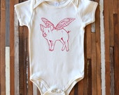Organic Cotton Baby One Piece - Screen Printed American Apparel Baby Bodysuit - When Pigs Fly One Piece - Organic Baby Clothing - Infant