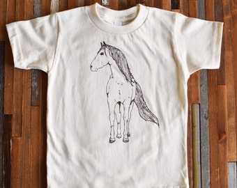 Kids Tshirt - Organic Cotton Toddler Shirt - American Apparel Kids Shirt - Screenprint Tshirt - Horse Toddler Tee - Hipster Kids Clothes