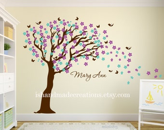 "Cherry blossom Decal - Tree wall decal - Wall Tree Mural Large - Tree cherry blossom -  Tree wall mural -removable 90x110 ""nature wall decal"